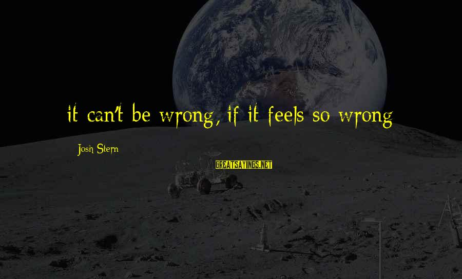 Funny Josh Sayings By Josh Stern: it can't be wrong, if it feels so wrong