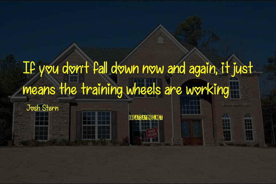 Funny Josh Sayings By Josh Stern: If you don't fall down now and again, it just means the training wheels are