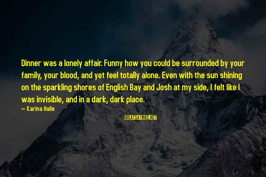 Funny Josh Sayings By Karina Halle: Dinner was a lonely affair. Funny how you could be surrounded by your family, your