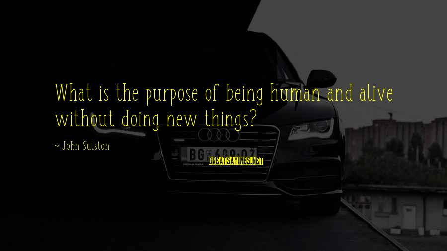 Funny Movie Making Sayings By John Sulston: What is the purpose of being human and alive without doing new things?