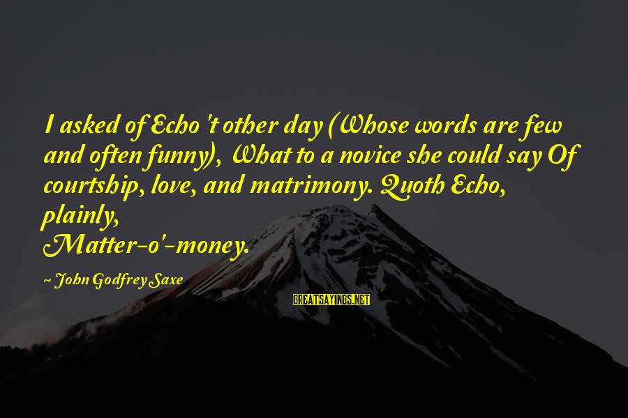 Funny Say What Sayings By John Godfrey Saxe: I asked of Echo 't other day (Whose words are few and often funny), What