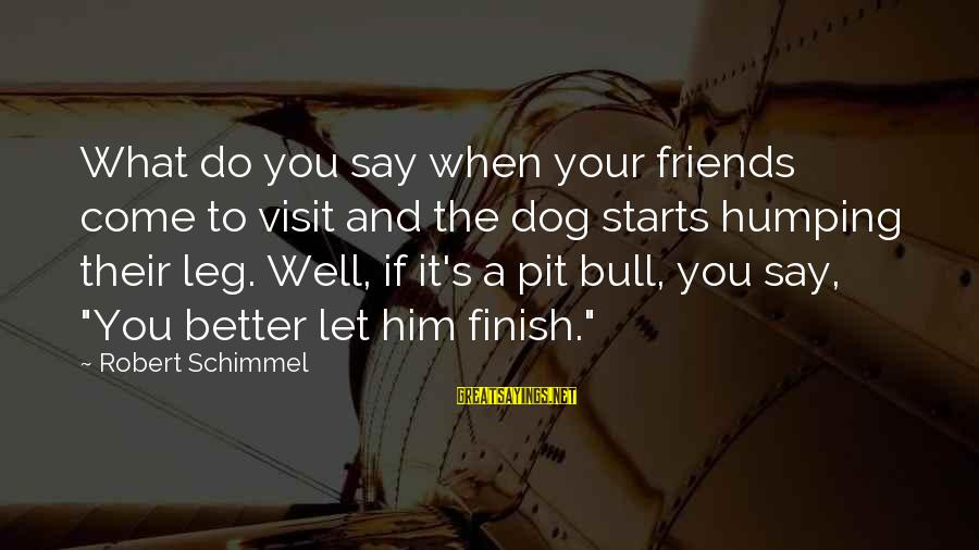 Funny Say What Sayings By Robert Schimmel: What do you say when your friends come to visit and the dog starts humping