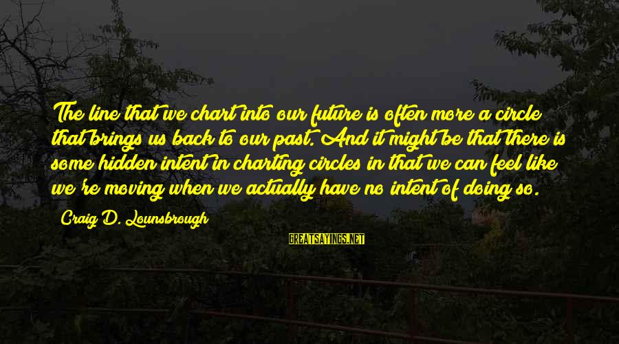 Future Brings Sayings By Craig D. Lounsbrough: The line that we chart into our future is often more a circle that brings