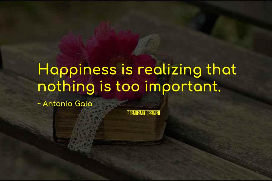 Gala Sayings By Antonio Gala: Happiness is realizing that nothing is too important.