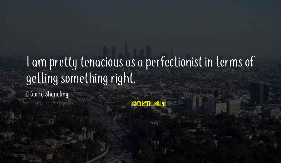 Garry Shandling Sayings By Garry Shandling: I am pretty tenacious as a perfectionist in terms of getting something right.