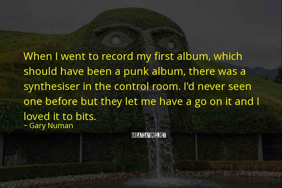 Gary Numan Sayings: When I went to record my first album, which should have been a punk album,