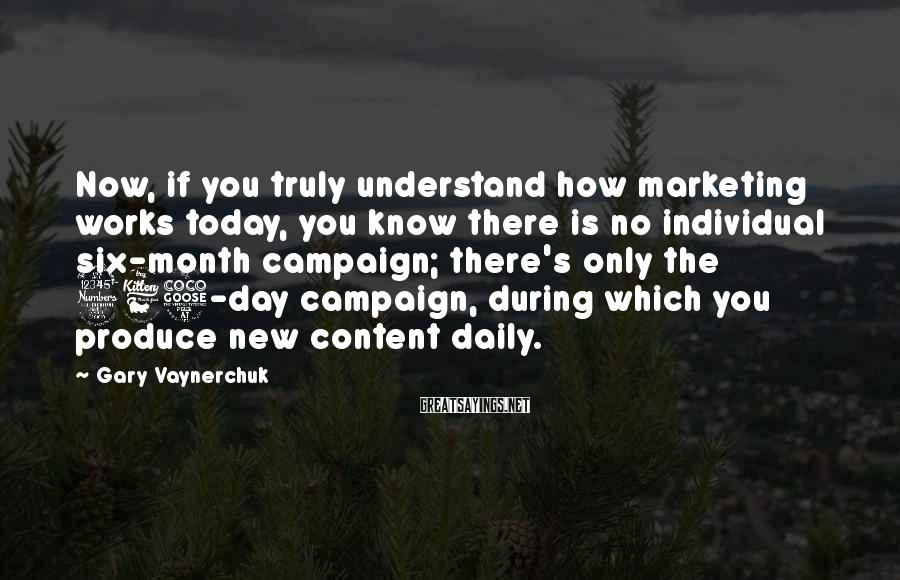 Gary Vaynerchuk Sayings: Now, if you truly understand how marketing works today, you know there is no individual