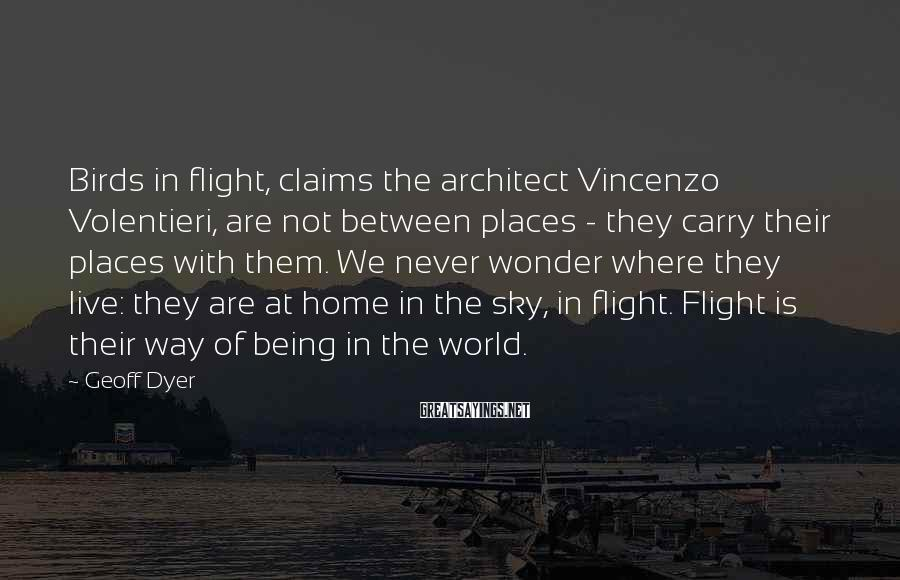Geoff Dyer Sayings: Birds in flight, claims the architect Vincenzo Volentieri, are not between places - they carry