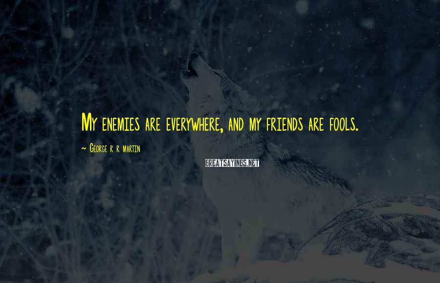 George R R Martin Sayings: My enemies are everywhere, and my friends are fools.