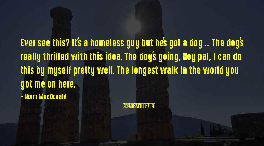George Zweig Sayings By Norm MacDonald: Ever see this? It's a homeless guy but he's got a dog ... The dog's
