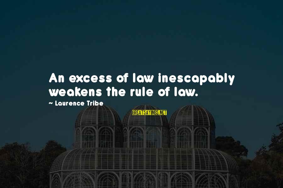 Gestation Crates Sayings By Laurence Tribe: An excess of law inescapably weakens the rule of law.