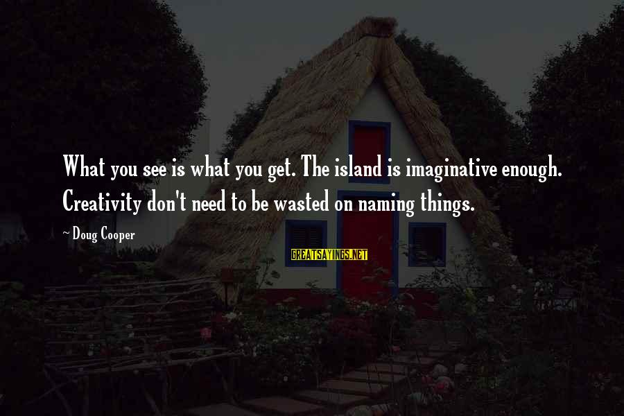 Get Outside Sayings By Doug Cooper: What you see is what you get. The island is imaginative enough. Creativity don't need