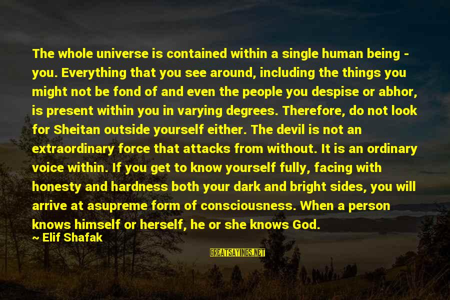Get Outside Sayings By Elif Shafak: The whole universe is contained within a single human being - you. Everything that you