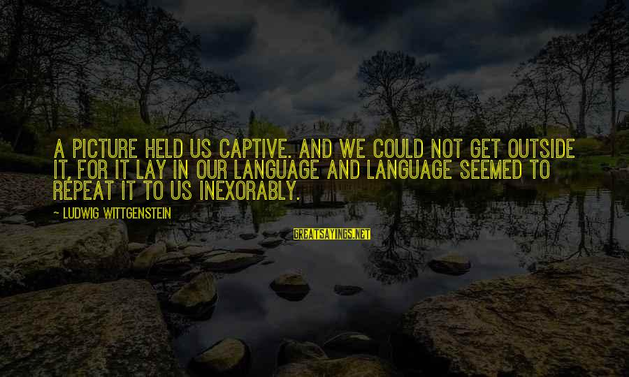 Get Outside Sayings By Ludwig Wittgenstein: A picture held us captive. And we could not get outside it, for it lay