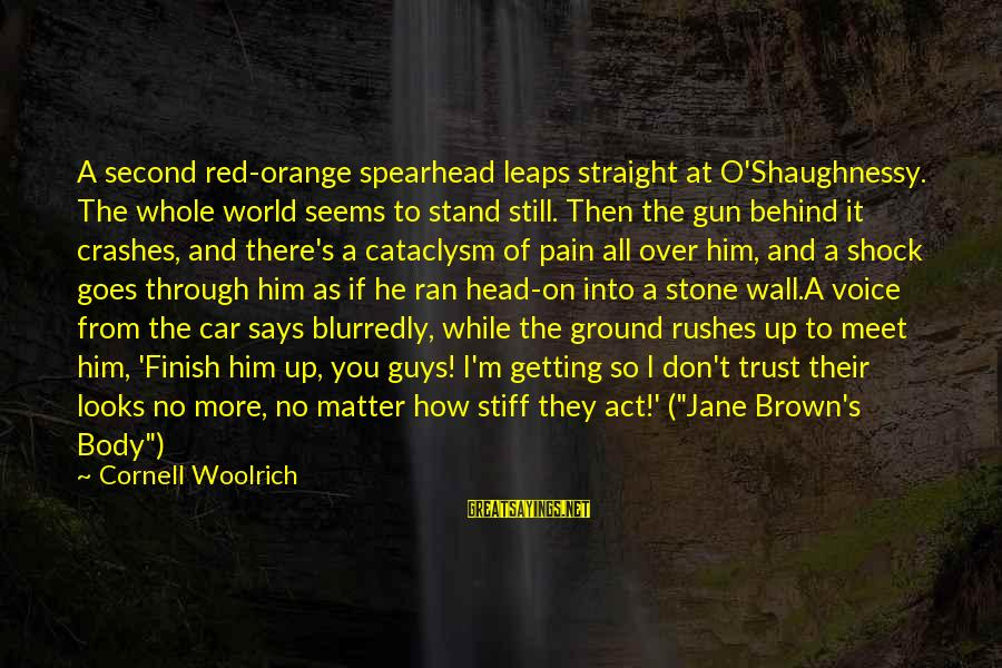 Getting Through Pain Sayings By Cornell Woolrich: A second red-orange spearhead leaps straight at O'Shaughnessy. The whole world seems to stand still.