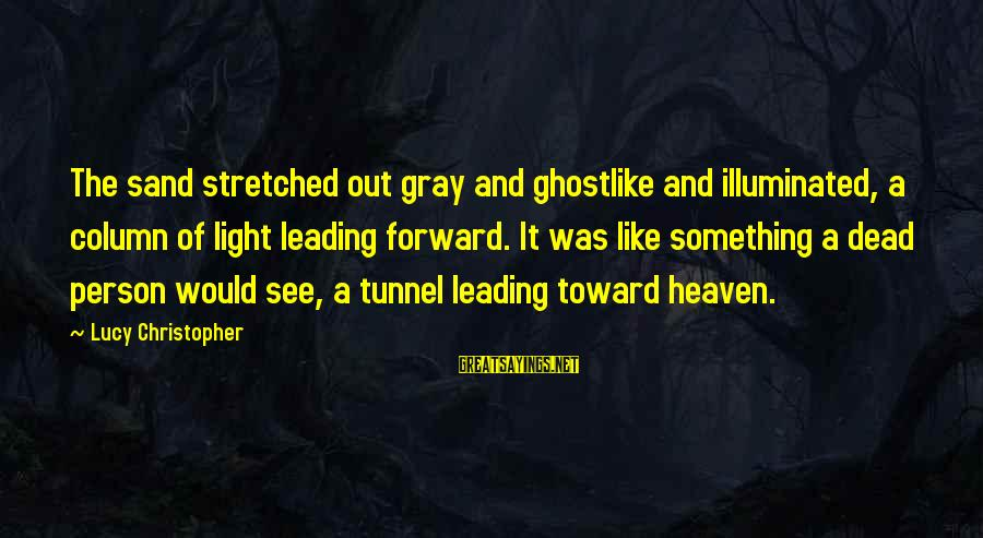 Ghostlike Sayings By Lucy Christopher: The sand stretched out gray and ghostlike and illuminated, a column of light leading forward.