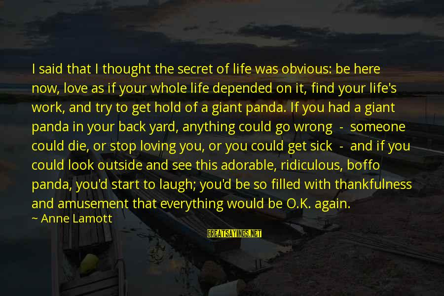 Giant Panda Sayings By Anne Lamott: I said that I thought the secret of life was obvious: be here now, love