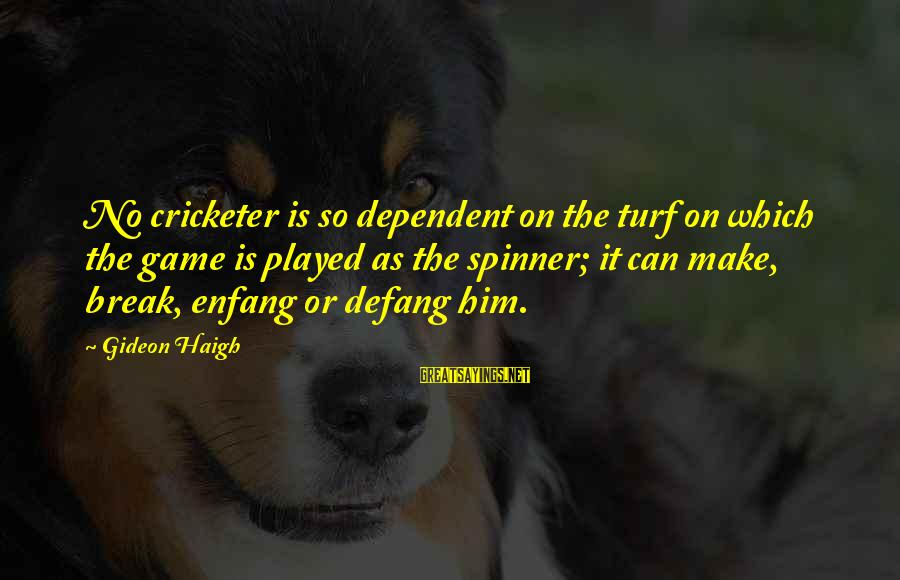 Gideon Haigh Sayings By Gideon Haigh: No cricketer is so dependent on the turf on which the game is played as