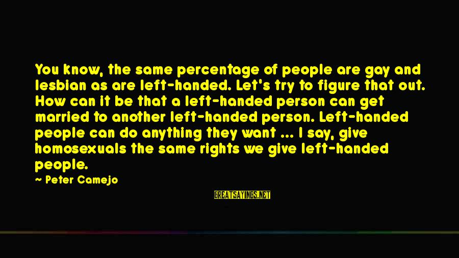 Give It A Try Sayings By Peter Camejo: You know, the same percentage of people are gay and lesbian as are left-handed. Let's