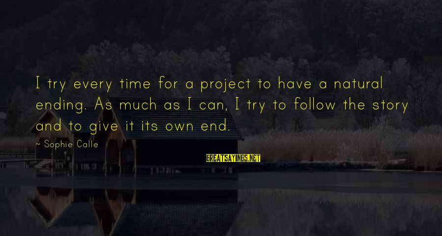 Give It A Try Sayings By Sophie Calle: I try every time for a project to have a natural ending. As much as