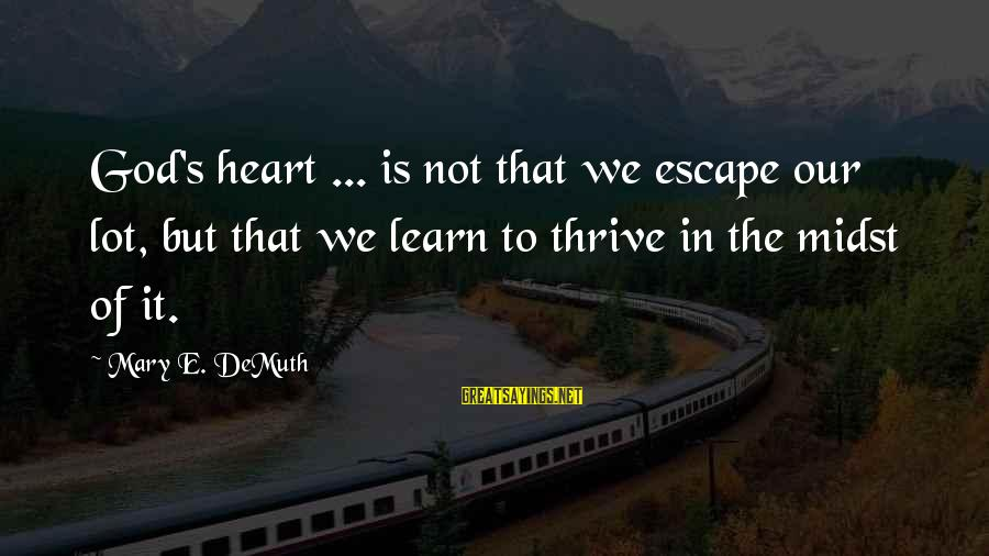 Give It To God Sayings By Mary E. DeMuth: God's heart ... is not that we escape our lot, but that we learn to