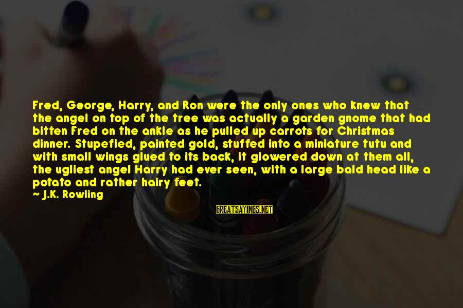 Glowered Sayings By J.K. Rowling: Fred, George, Harry, and Ron were the only ones who knew that the angel on
