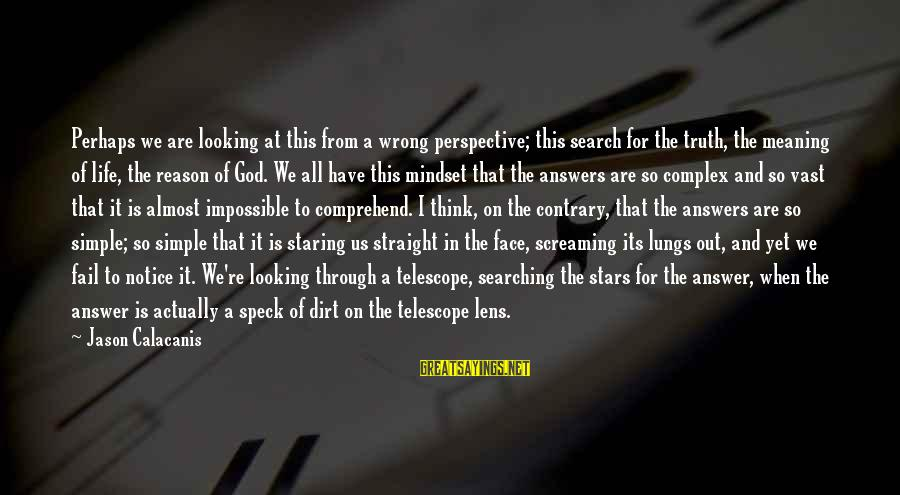 God And Its Meaning Sayings By Jason Calacanis: Perhaps we are looking at this from a wrong perspective; this search for the truth,