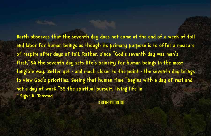 God And Its Meaning Sayings By Sigve K. Tonstad: Barth observes that the seventh day does not come at the end of a week