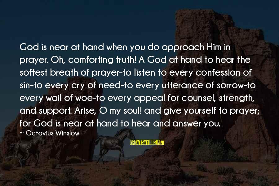 God Giving You Strength Sayings By Octavius Winslow: God is near at hand when you do approach Him in prayer. Oh, comforting truth!