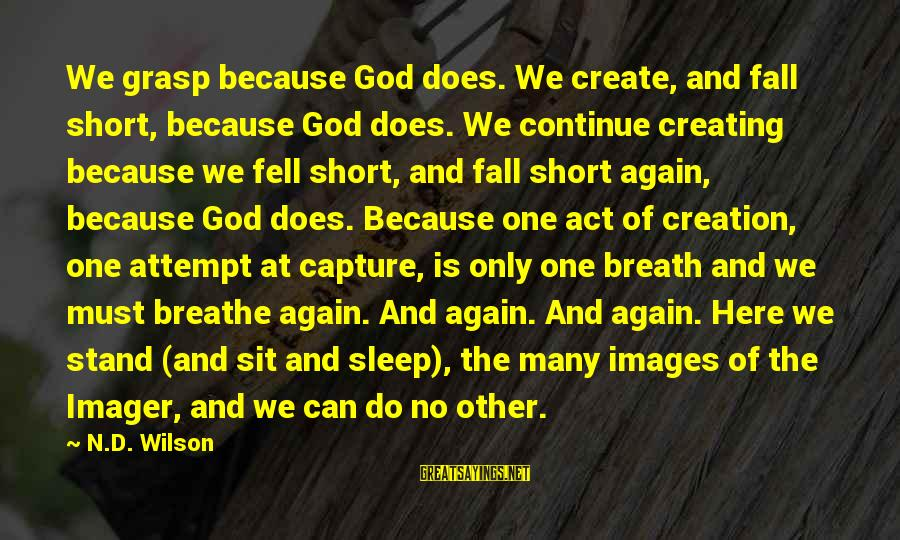 God Images And Sayings By N.D. Wilson: We grasp because God does. We create, and fall short, because God does. We continue
