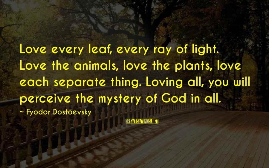 God Loving Animals Sayings By Fyodor Dostoevsky: Love every leaf, every ray of light. Love the animals, love the plants, love each