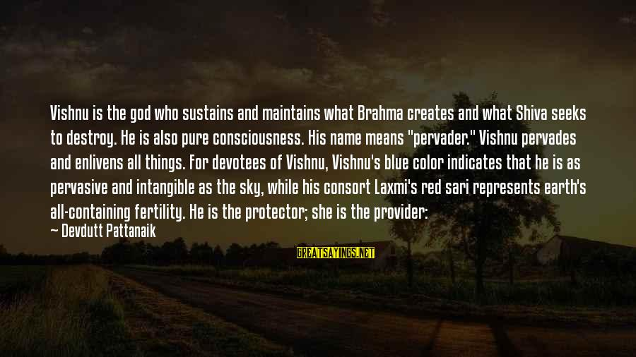 God The Provider Sayings By Devdutt Pattanaik: Vishnu is the god who sustains and maintains what Brahma creates and what Shiva seeks