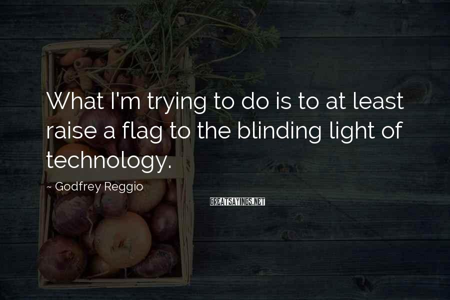 Godfrey Reggio Sayings: What I'm trying to do is to at least raise a flag to the blinding