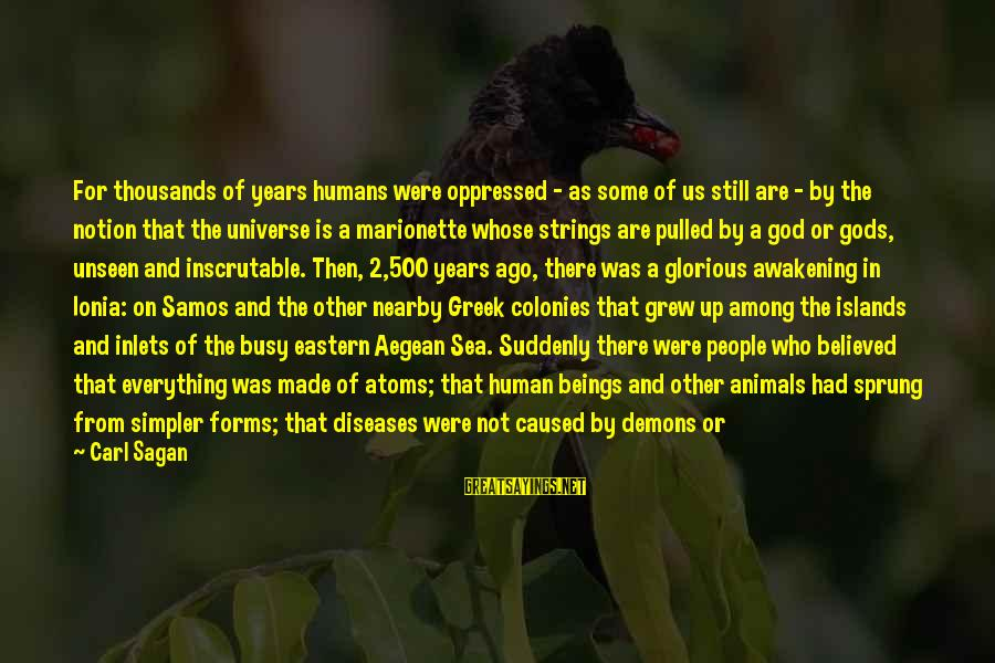 Gods Among Us Sayings By Carl Sagan: For thousands of years humans were oppressed - as some of us still are -