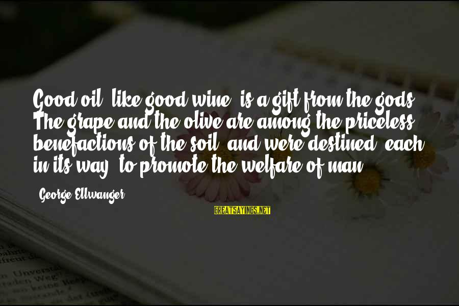 Gods Among Us Sayings By George Ellwanger: Good oil, like good wine, is a gift from the gods. The grape and the