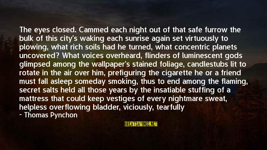 Gods Among Us Sayings By Thomas Pynchon: The eyes closed. Cammed each night out of that safe furrow the bulk of this
