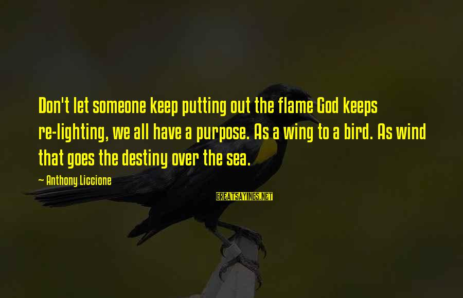 God's Calling Sayings By Anthony Liccione: Don't let someone keep putting out the flame God keeps re-lighting, we all have a