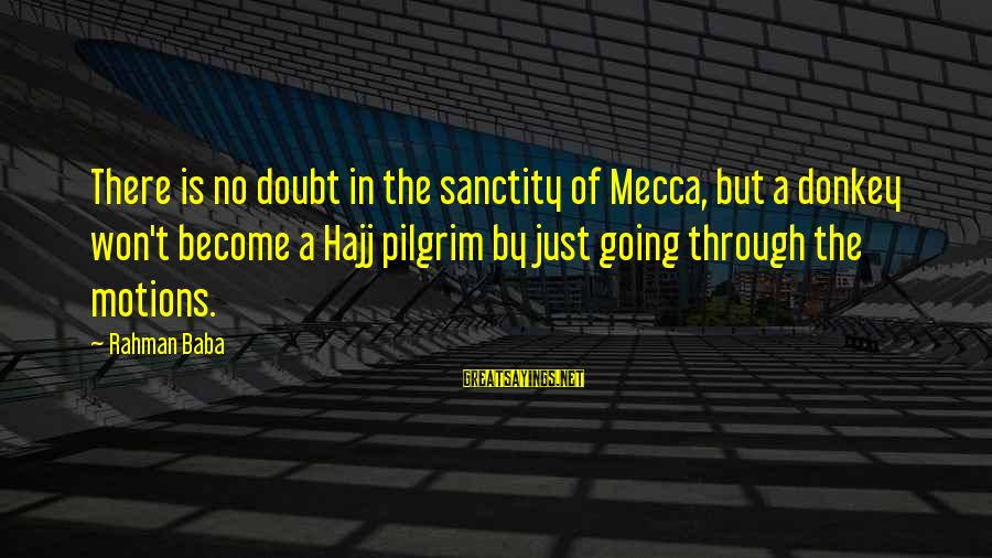 Going Through Motions Sayings By Rahman Baba: There is no doubt in the sanctity of Mecca, but a donkey won't become a