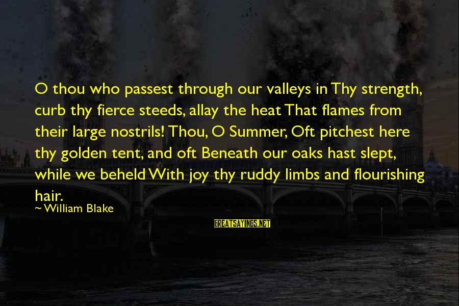 Golden Hair Sayings By William Blake: O thou who passest through our valleys in Thy strength, curb thy fierce steeds, allay