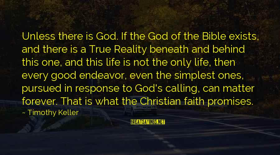Good Endeavor Sayings By Timothy Keller: Unless there is God. If the God of the Bible exists, and there is a
