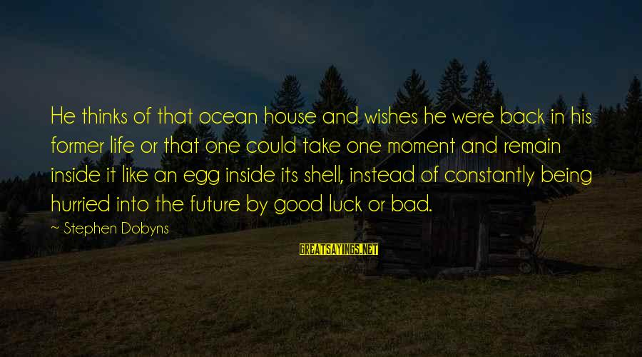 Good Luck Wishes And Sayings By Stephen Dobyns: He thinks of that ocean house and wishes he were back in his former life