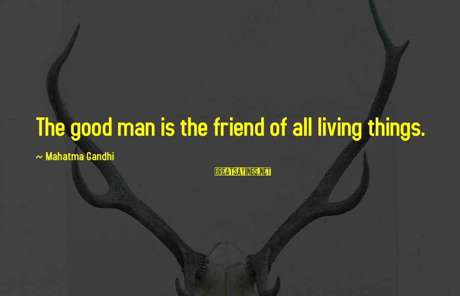 Good Man Friend Sayings By Mahatma Gandhi: The good man is the friend of all living things.
