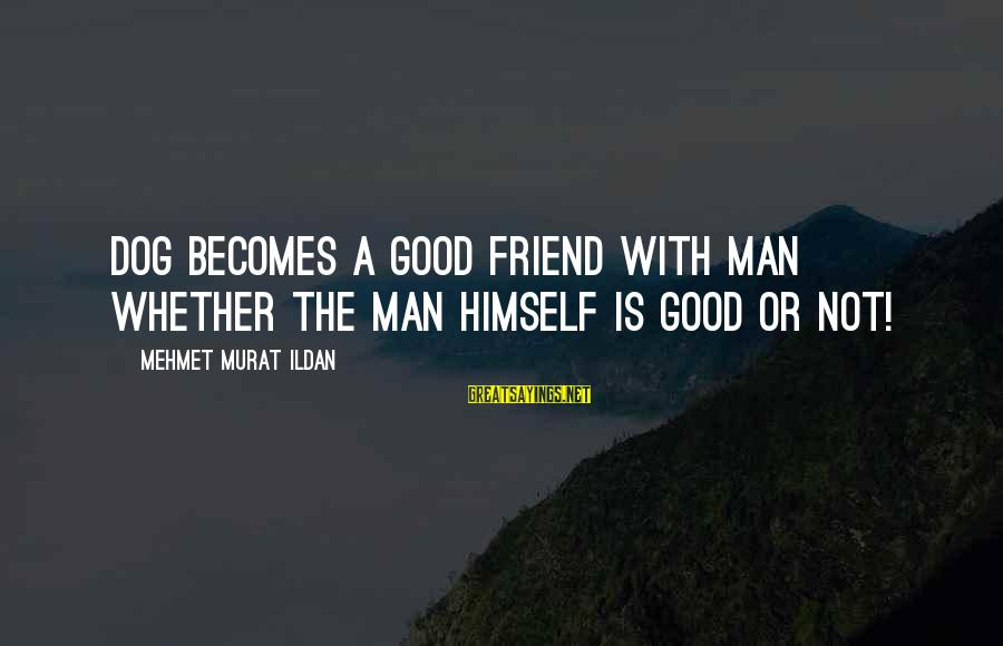 Good Man Friend Sayings By Mehmet Murat Ildan: Dog becomes a good friend with man whether the man himself is good or not!