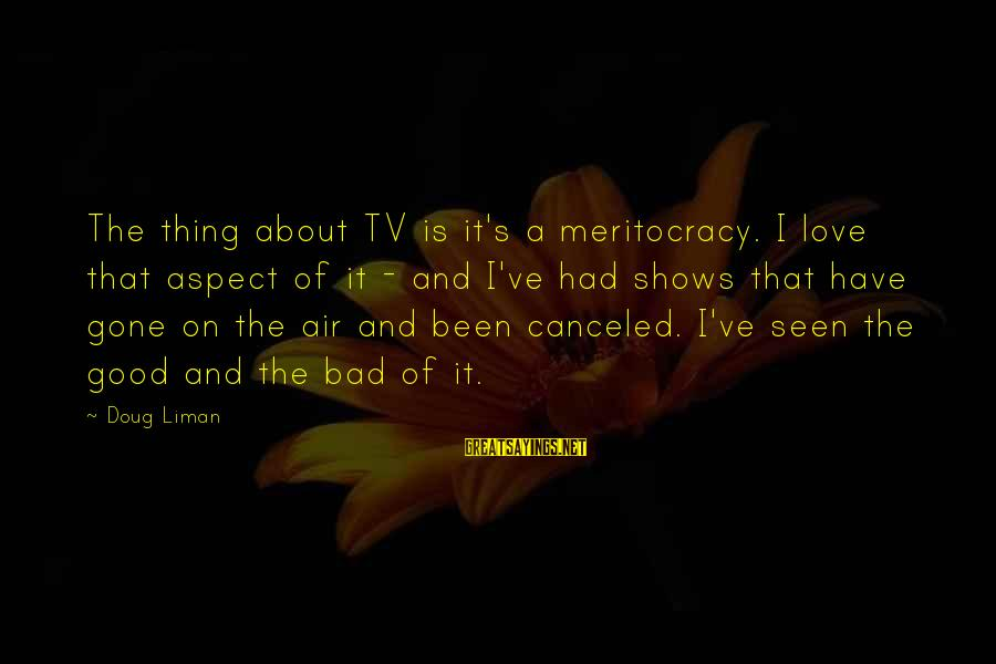 Good Thing Gone Sayings By Doug Liman: The thing about TV is it's a meritocracy. I love that aspect of it -