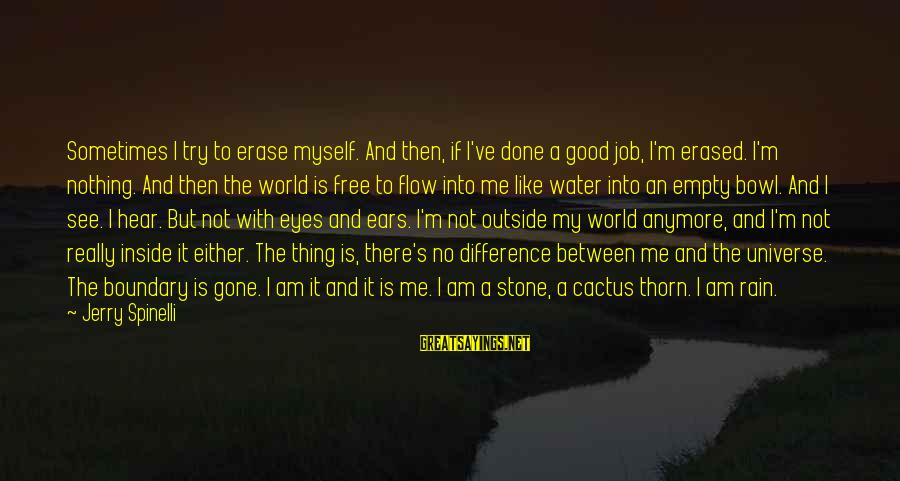 Good Thing Gone Sayings By Jerry Spinelli: Sometimes I try to erase myself. And then, if I've done a good job, I'm