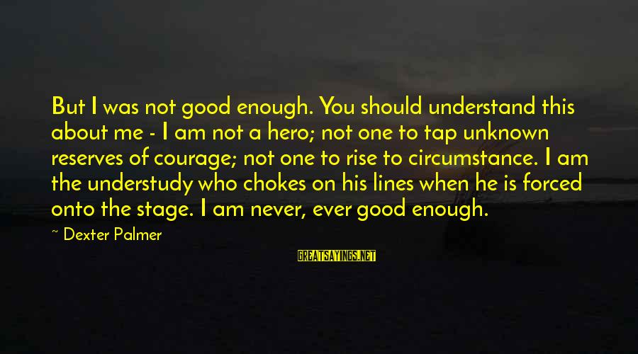 Good Unknown Sayings By Dexter Palmer: But I was not good enough. You should understand this about me - I am