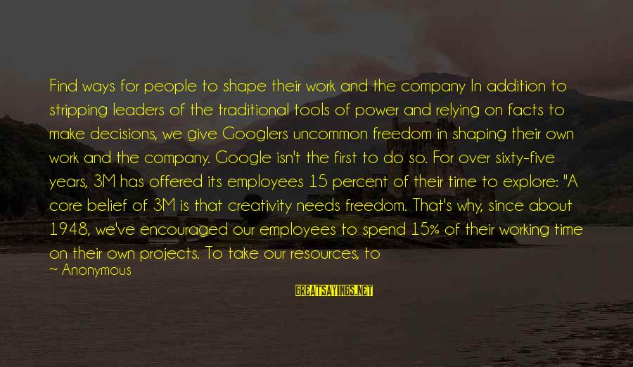 Google Company Sayings By Anonymous: Find ways for people to shape their work and the company In addition to stripping