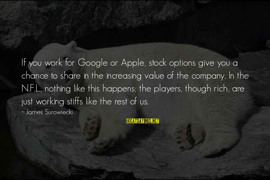 Google Company Sayings By James Surowiecki: If you work for Google or Apple, stock options give you a chance to share