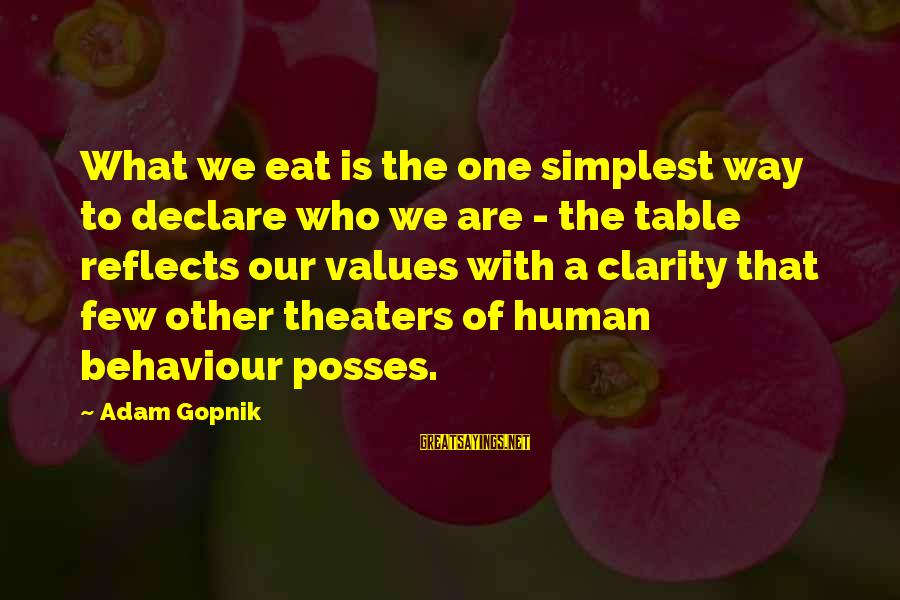 Gopnik Sayings By Adam Gopnik: What we eat is the one simplest way to declare who we are - the