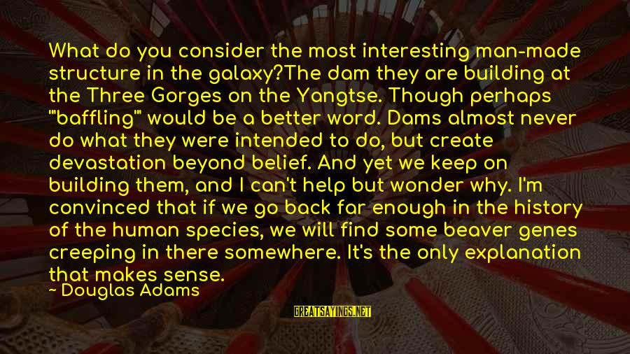Gorges Sayings By Douglas Adams: What do you consider the most interesting man-made structure in the galaxy?The dam they are